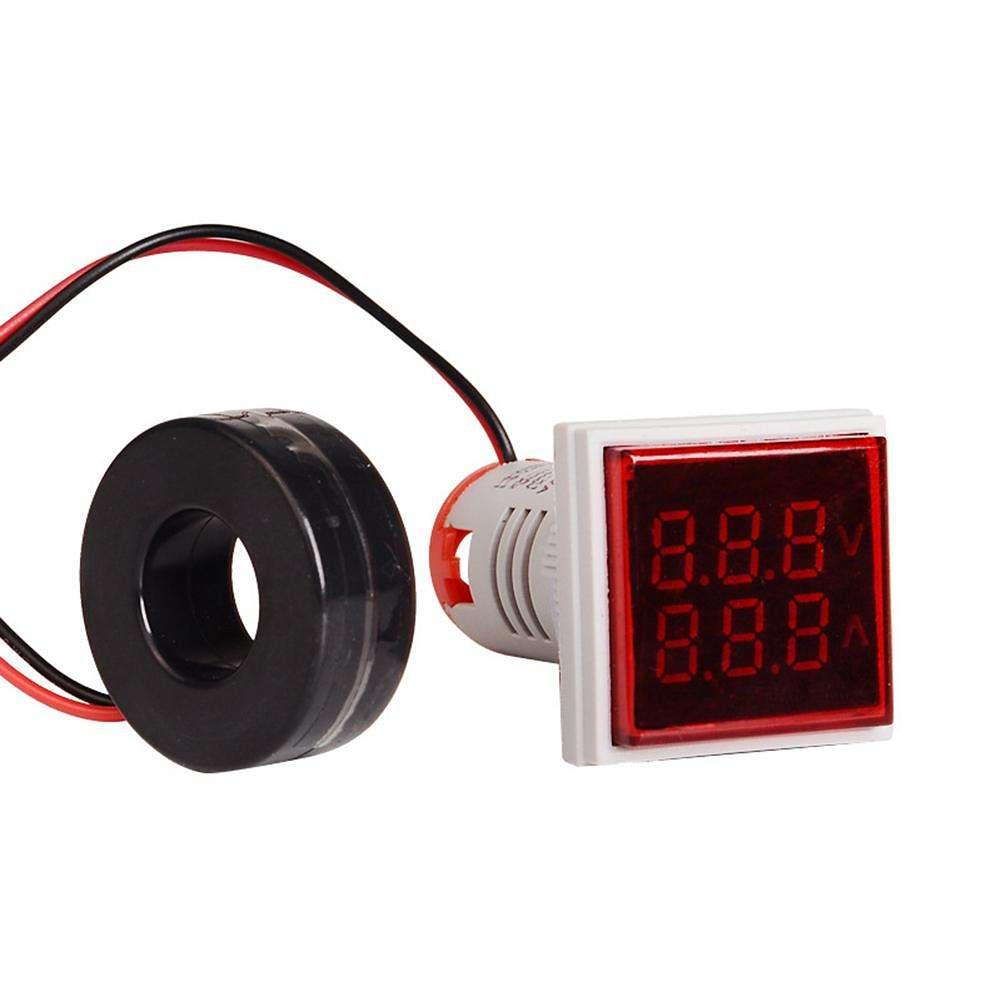 AC 60-500V Digital Display Voltmeter LED Indicator Lamp Square Signal Light