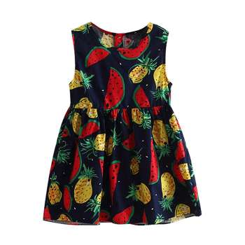 Girls Fruit Print Sleeveless Dress Cute Summer Clothing (Royal Blue 18-24M)