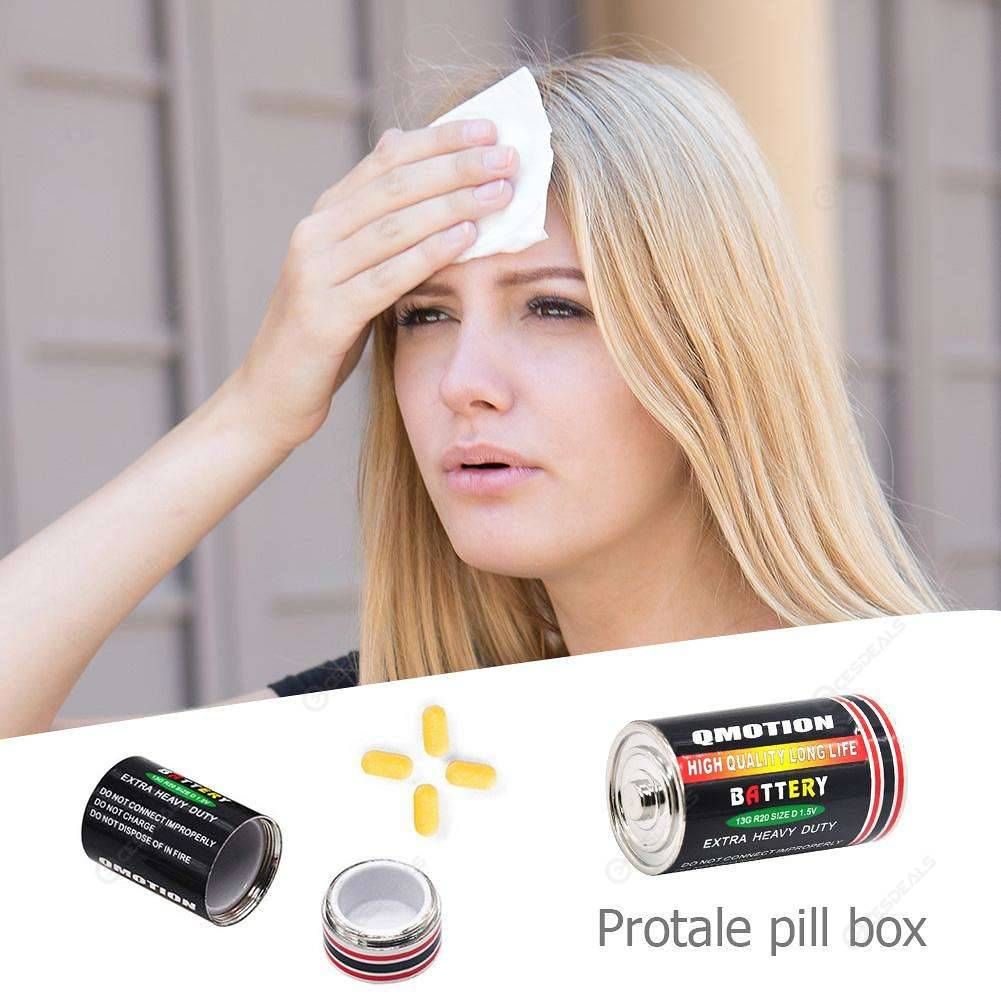 Creative Battery Shaped Secret Stash Pill Box Medicine Hide Container (M)