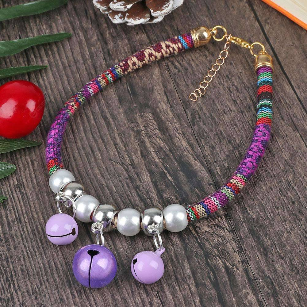 52d5a644d Adjustable Braided Rope Pet Dog Collar Necklace with 3D Bells M (Purple) ...