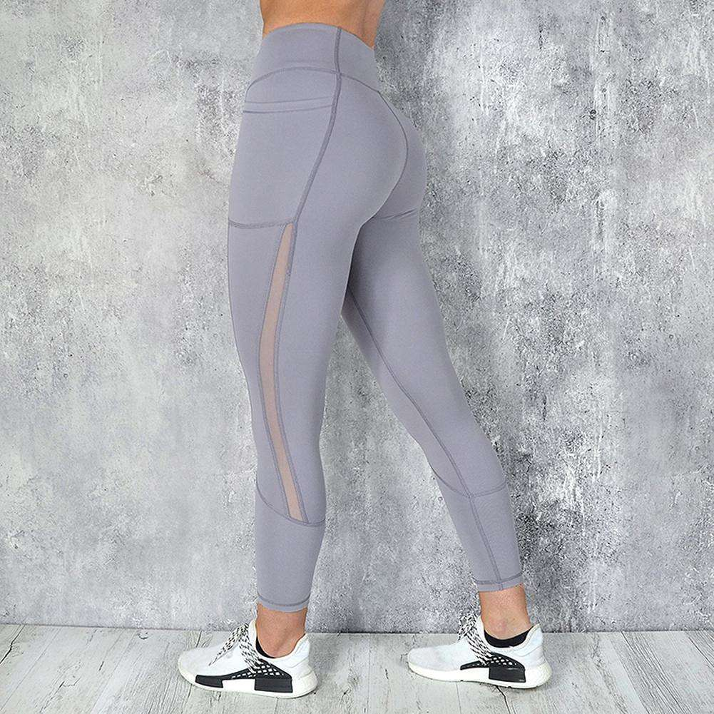 d975aec66180a Sexy Women Sports Yoga Pants Mesh Patchwork Trousers Slim Leggings (Grey  S)- US$13.06 online shopping | NewFrog.com