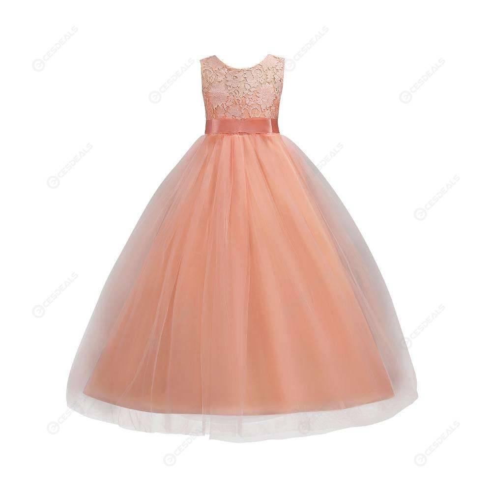 Kids Long Dress Girl Lace Tulle Ball Gown Pageant Costumelight Pink 13 14t