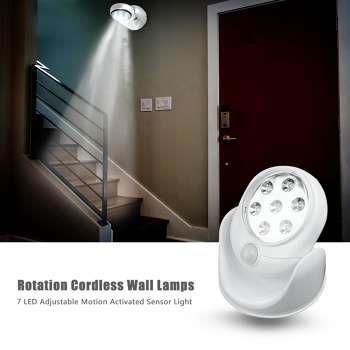 7 LED Adjustable Motion Activated Sensor Light Rotation Cordless Wall Lamps