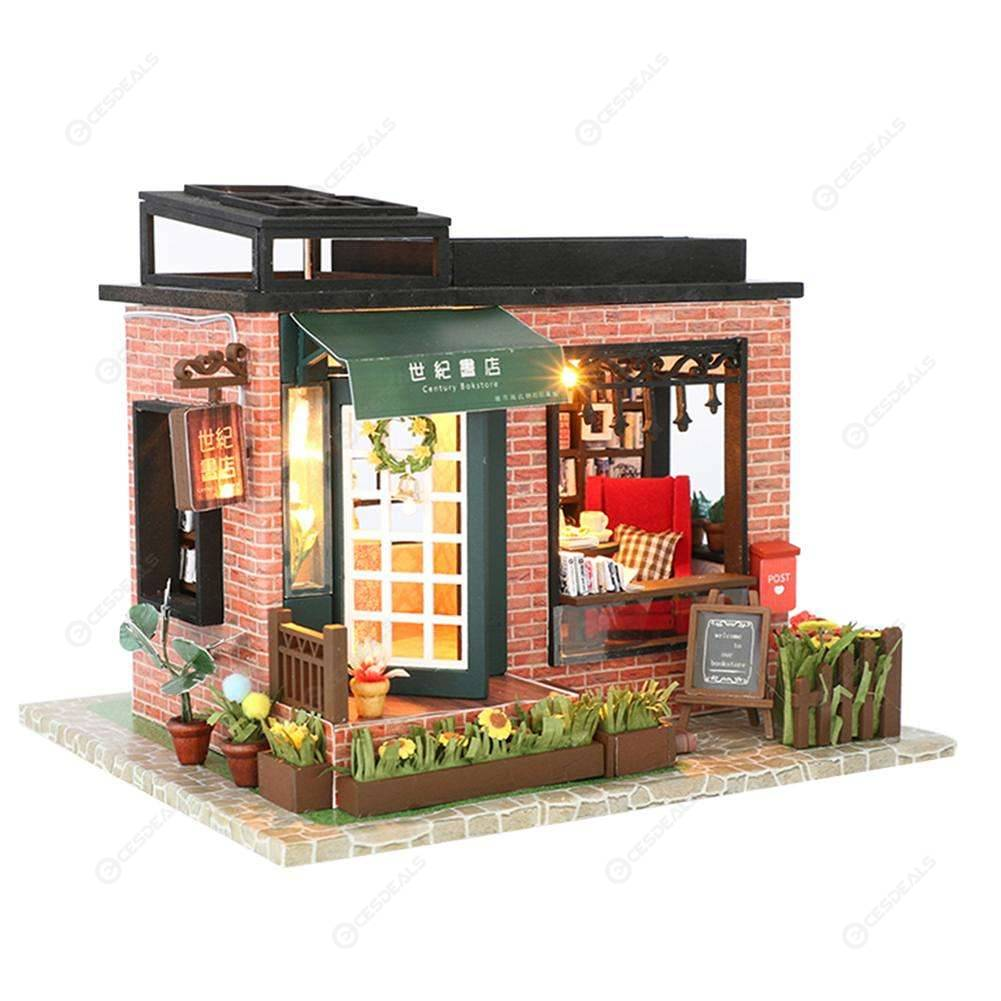 Bookstore Diy Puzzle Assemble Doll House Miniature Wood House