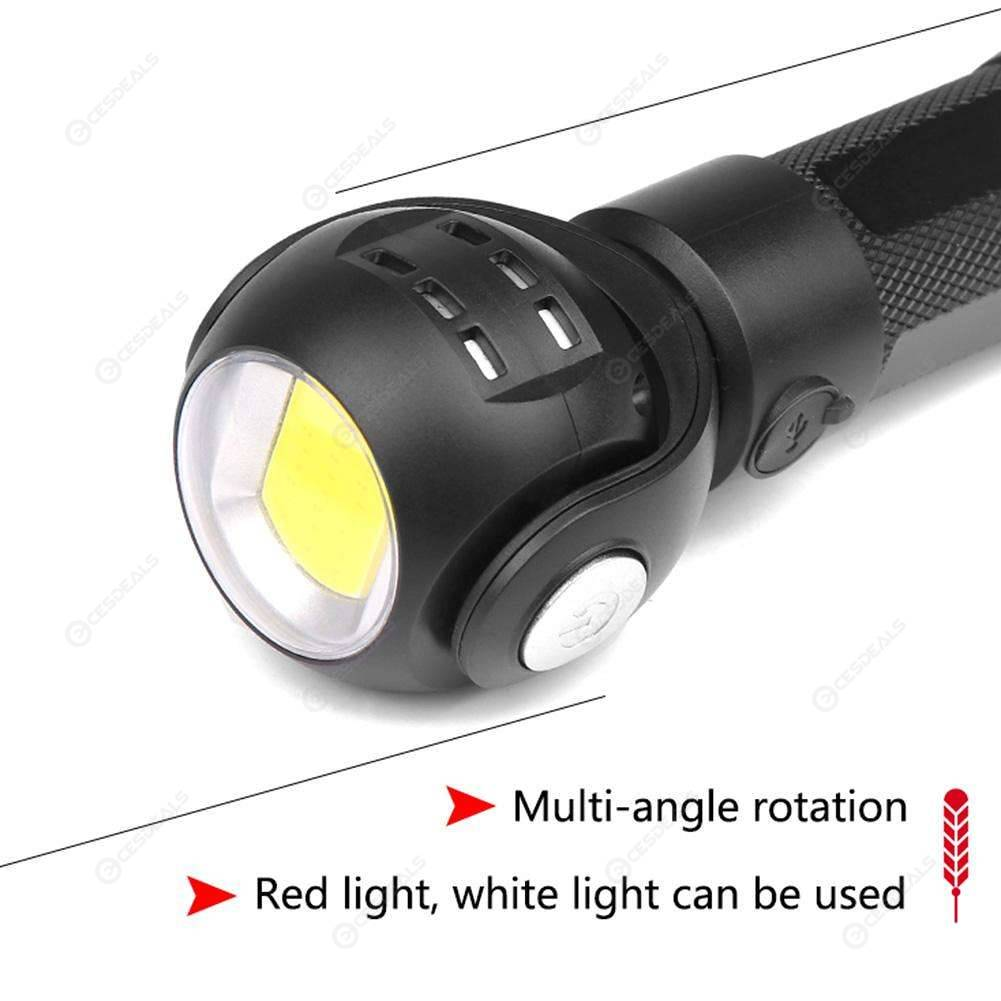 T6+COB LED Flashlight 360 Degree Rotatable Torch Magnet Camping Lamp Light