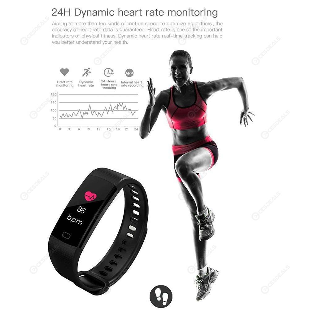 Y5 0.96 inch Heart Rate Blood Pressure Monitor Fitness Smart Band (Black)