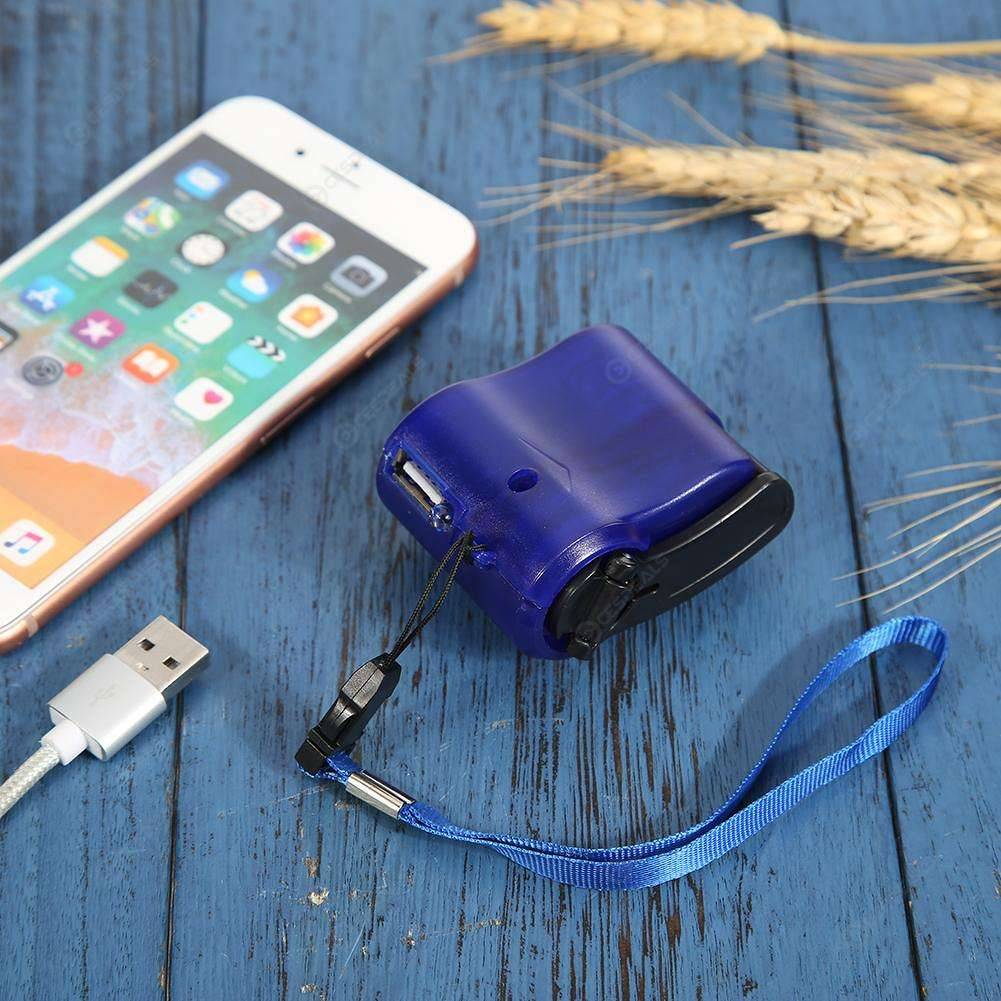 Portable USB Phone Emergency ABS Charger 5.5V Hand Crank Charger (Blue)