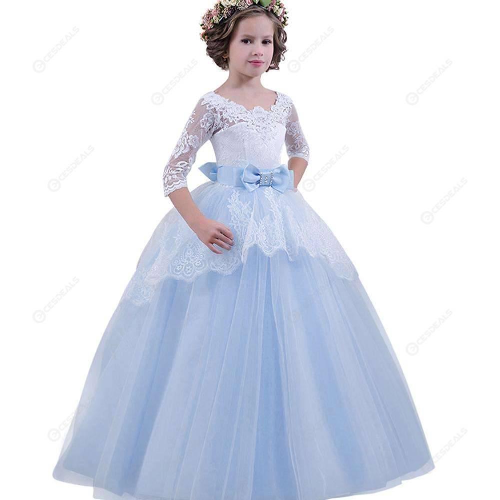 fa83b5c0ccee4 Girls Formal Lace Elegant Long Prom Dress Kids Ball Gown (Light Blue 9-10T)