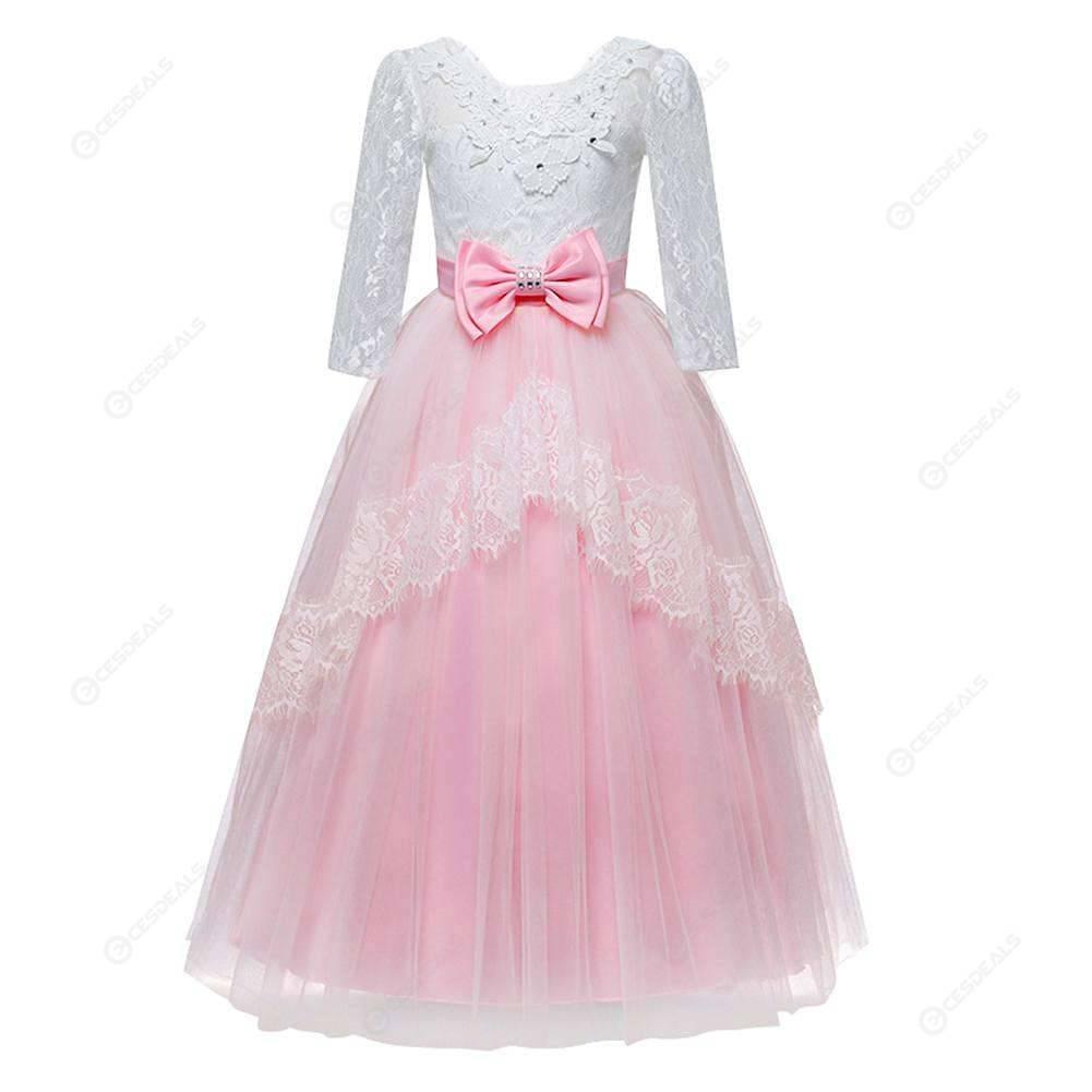f7af17053338a Girls Formal Lace Elegant Long Prom Dress Princess Ball Gown (Pink 13-14T)