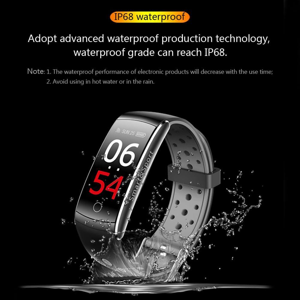 Q8S Waterproof Fitness Tracker Heart Rate Blood Pressure Wristband (Grey)