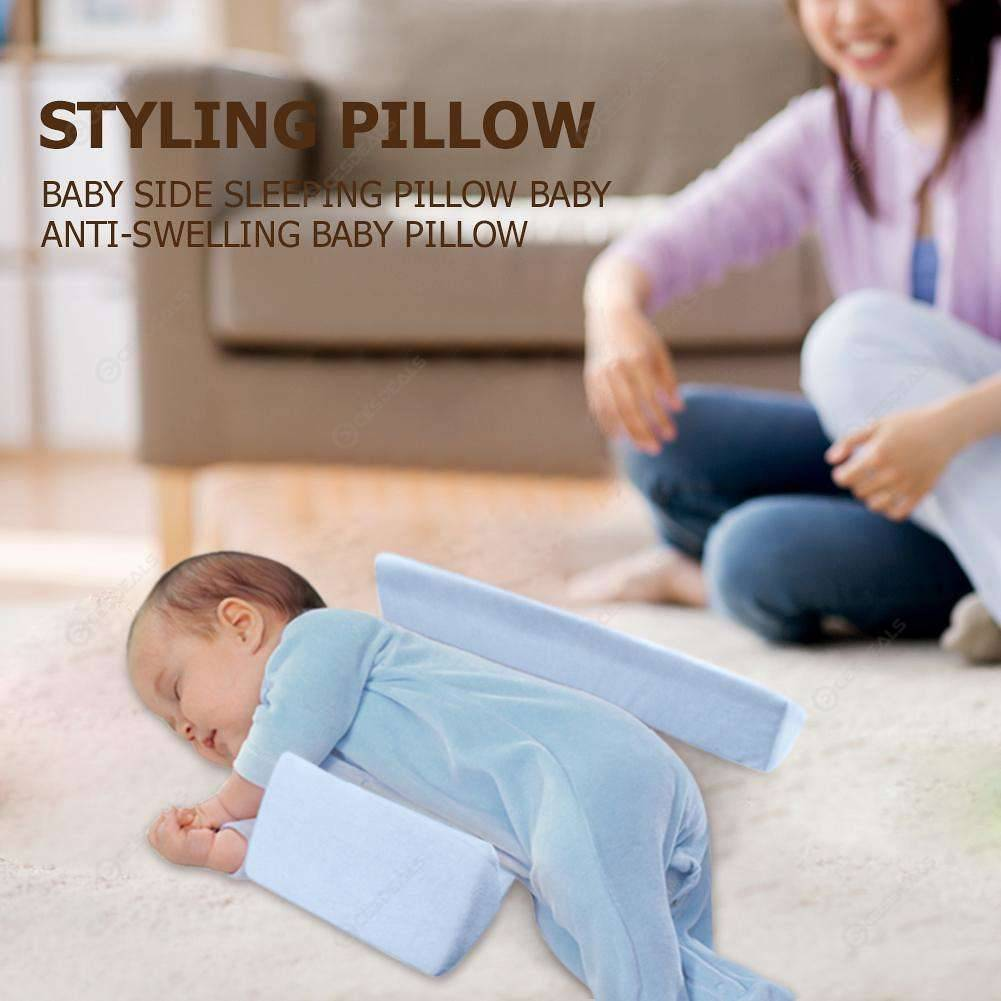 Baby Infant Side Sleep Positioner Pillow Anti Roll Shaping Cushion (Blue)