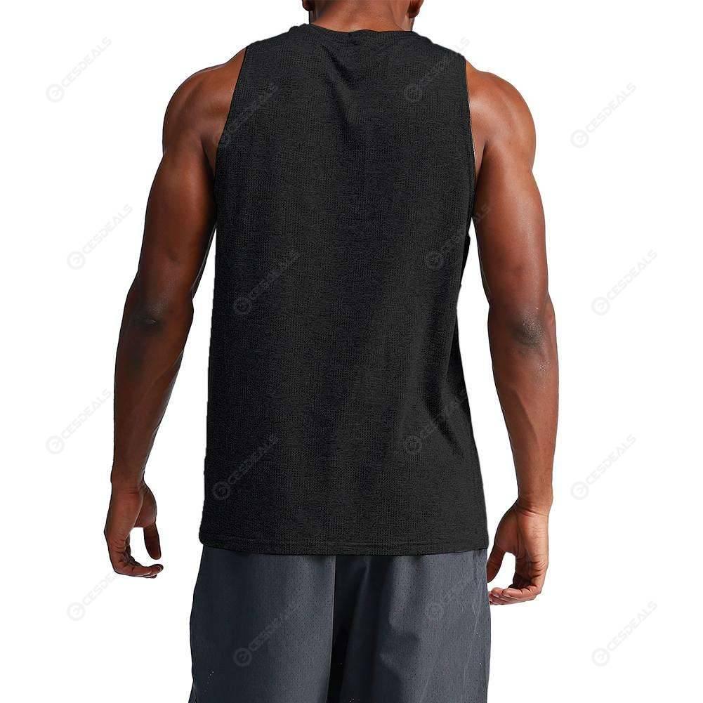 Mens Sport Undershirt Bottoming Slim Tank Shirt Fitness Tops Vest (Black M)