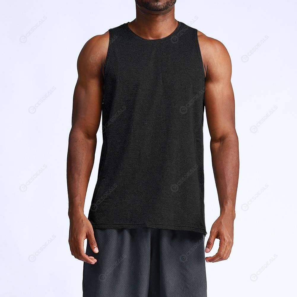Men Sport Undershirt Bottoming Slim Tank Shirt Fitness Tops Vest (Black XXL