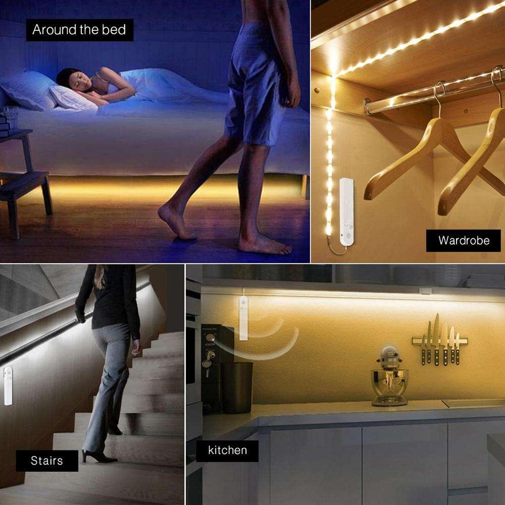 LED Cabinet Light PIR Motion Sensor LED Strip Under Bed Closet Lamp (1m)