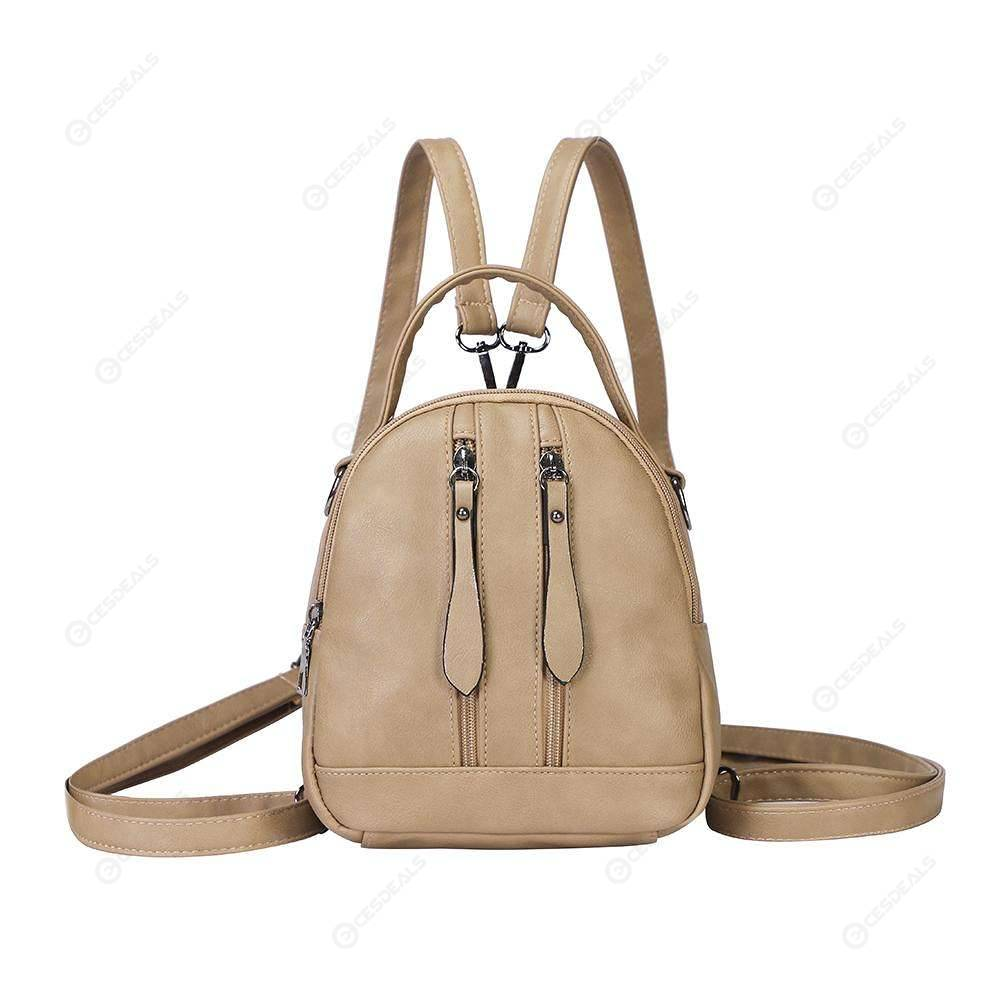 6a7a3d54e81d Women Backpack PU Leather Schoolbag Travel Shoulder Small Girl Bags (Camel)