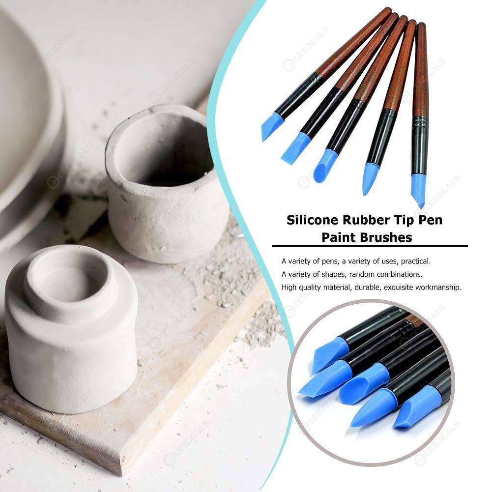 5pcs Silicone Rubber Tip Pen Paint Brushes Pottery Clay Sculpture Shaper