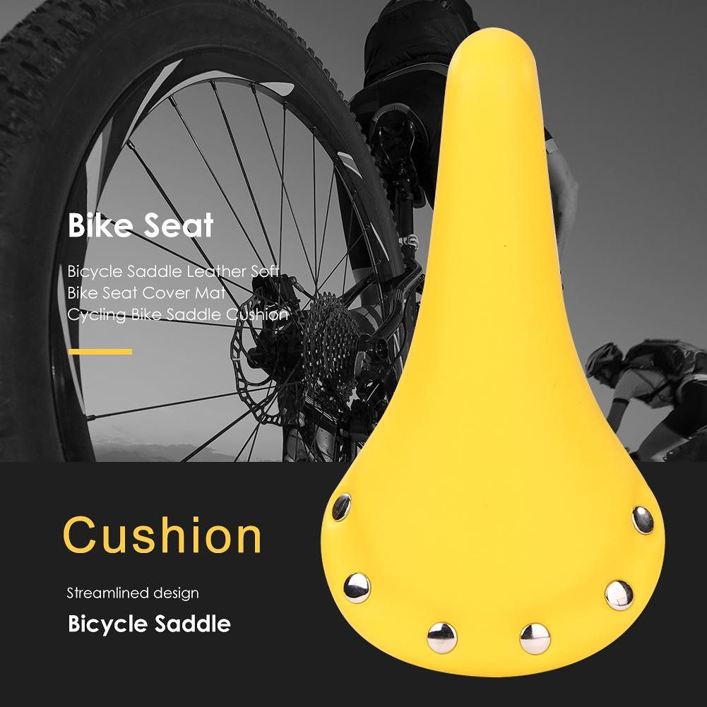 Bicycle Saddle Leather Soft Bike Seat Cover Mat MTB Bike Cushion (Yellow)