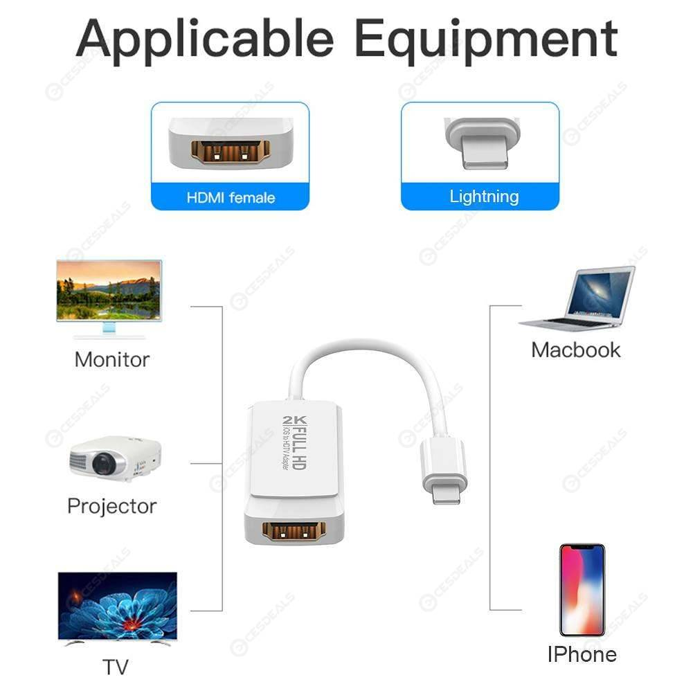 8Pin to HDMI Digital AV Converter 2K HD 1080P HDMI Cable Adapter for IOS8.0