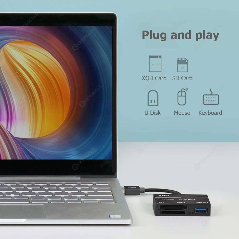 XQD Card Reader USB 3.0 Hub 500MB/s High Speed 3 in 1 Camera Kit Adapter