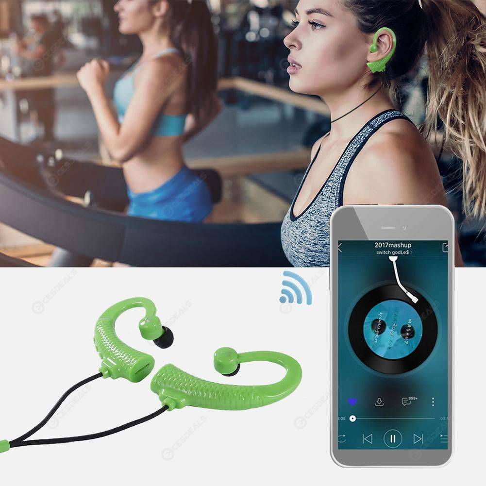 Kelima F2 Bluetooth Earphone Earhook Stereo Headset FM Radio w/MIC (Green)