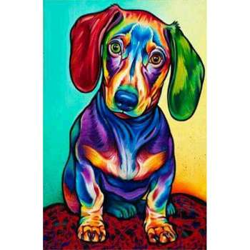 5D DIY Diamond Painting Colorful Dog Cross Stitch Embroidery Mosaic Kit