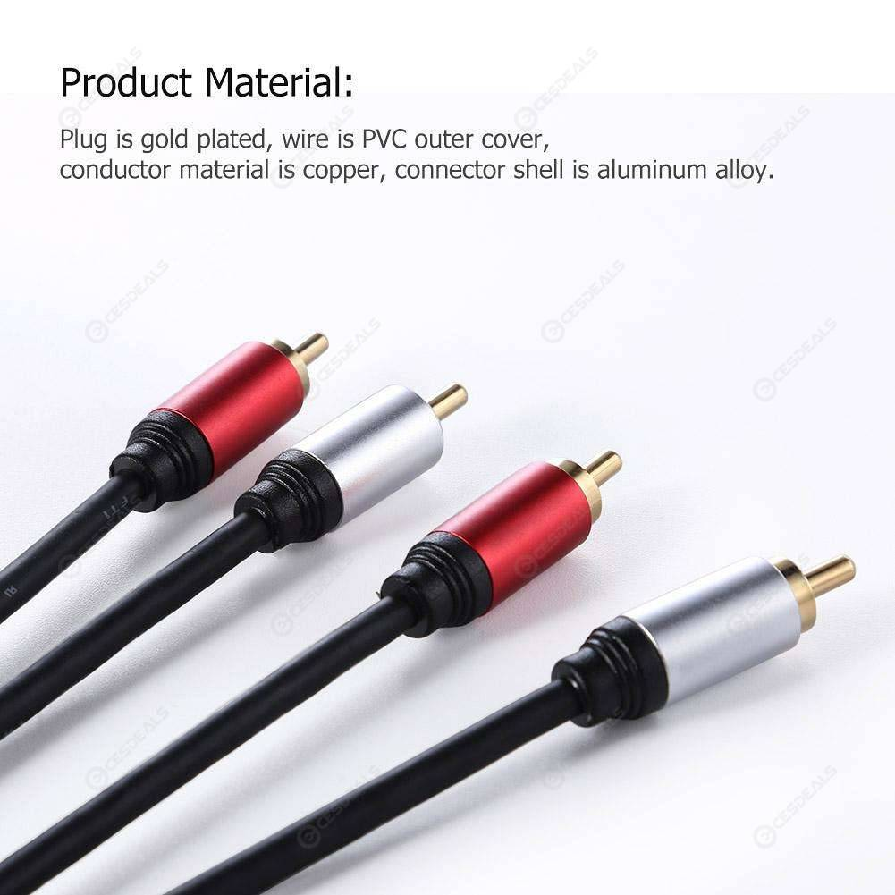 1.8m 2RCA to 2 RCA Male to Male Audio Cable Gold-Plated RCA Aux Cable Wire