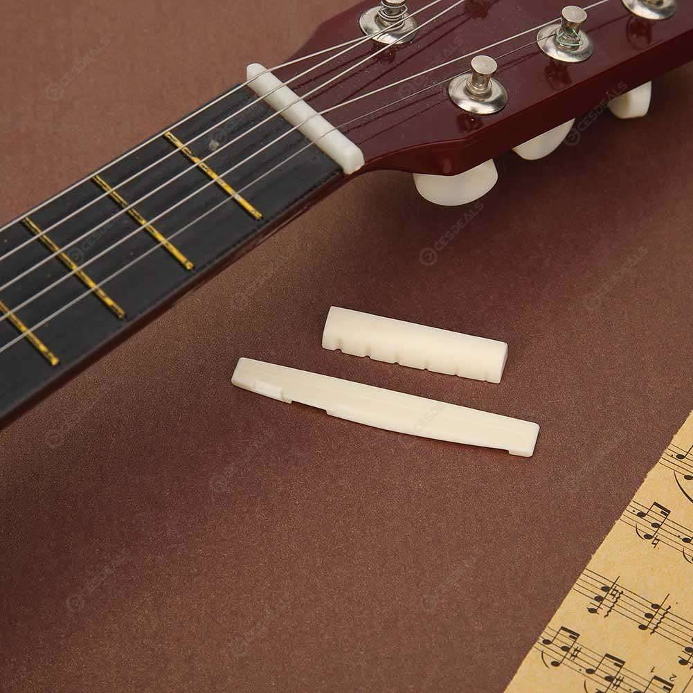 Portable 6-String Guitar Bridge Pins Saddle Nut Cattle Tailpiece (Ivory)