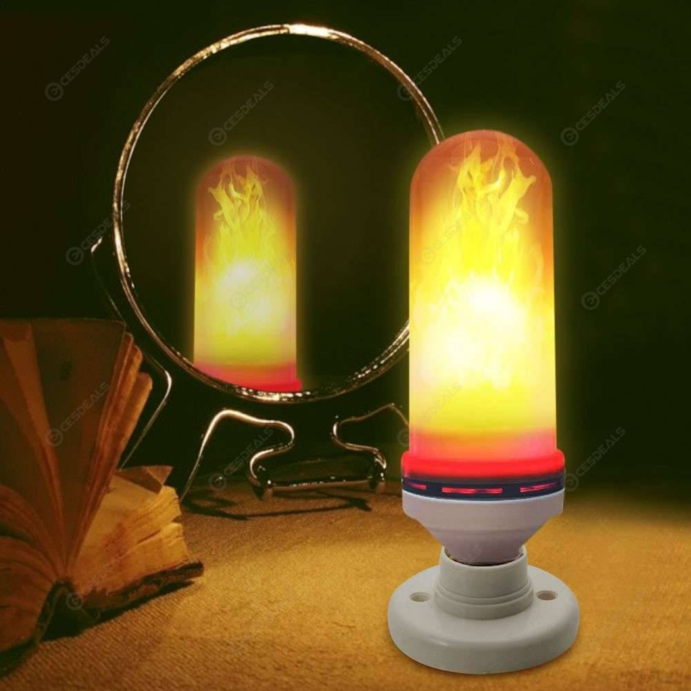 E27 96 SMD 2835 LED Flame Bulb Emulation Colorful Fire Effect Flicker Lamp