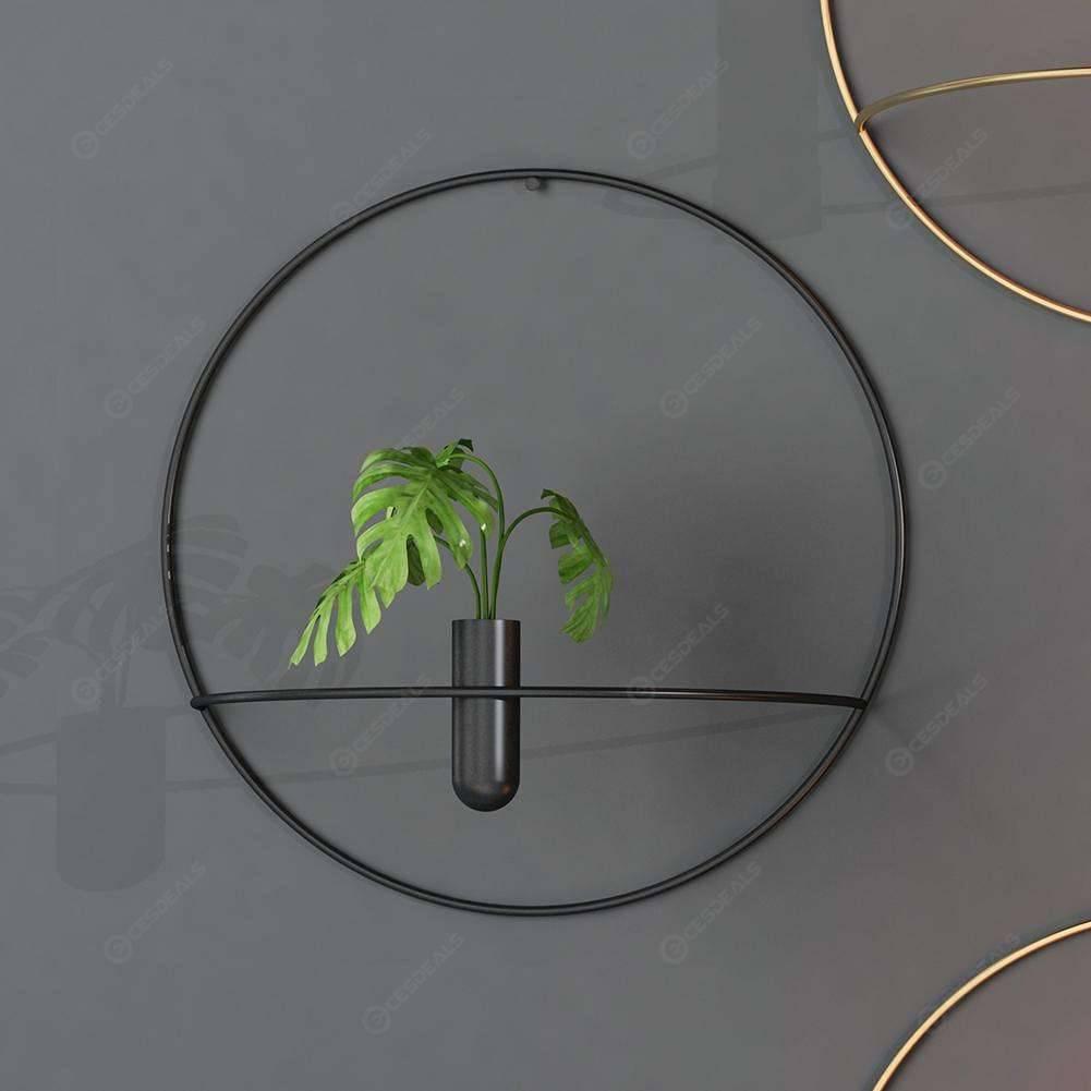 Decoración Metal Geométrica Redonda Vela Titular De La Casa Terraza De Flor Negra 29cm