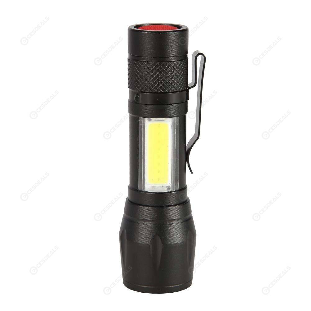 COB+XPE LED Flashlight 4 Modes Zoomable Outdoor Torch Lamp with Pen Clip
