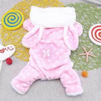 Cute Pet Dog Four-Legs Pajamas Puppy Soft Hooded Fleece Jumpsuit (Pink S)