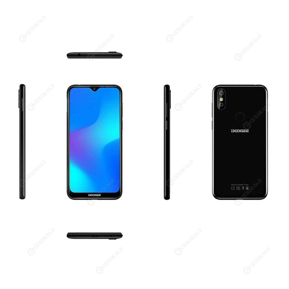 DOOGEE Y8 Smartphone Waterdrop Screen Quad Core Android 9.0 4G Phone (Black