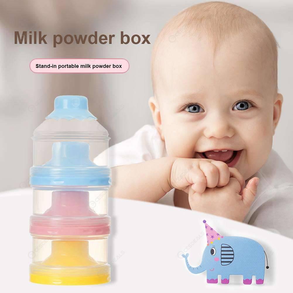 Funnel Baby Infant Milk Powder Food Bottle Container 3 Cells Grid (Blue)