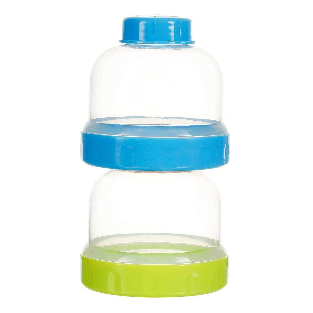 3 Layers Baby Feeding Bottle Infant Milk Powder Food Storage Grid Box (Blue