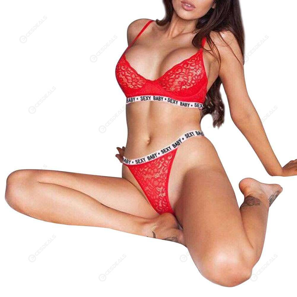9df50505f875 Sexy Bra Set Women Letters See Through Lingerie Lace Underwear (Red L) ...