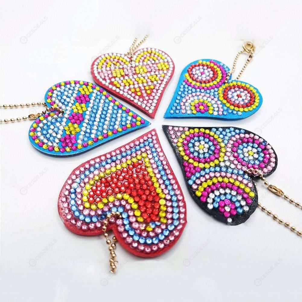 5pcs/set DIY Full Drill Diamond Painting Love Heart Keychain Key Ring Gift
