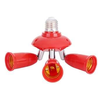 3 in 1 E27 to E27 Lamp Base Socket Splitter LED Light Bulb Holder (Red)