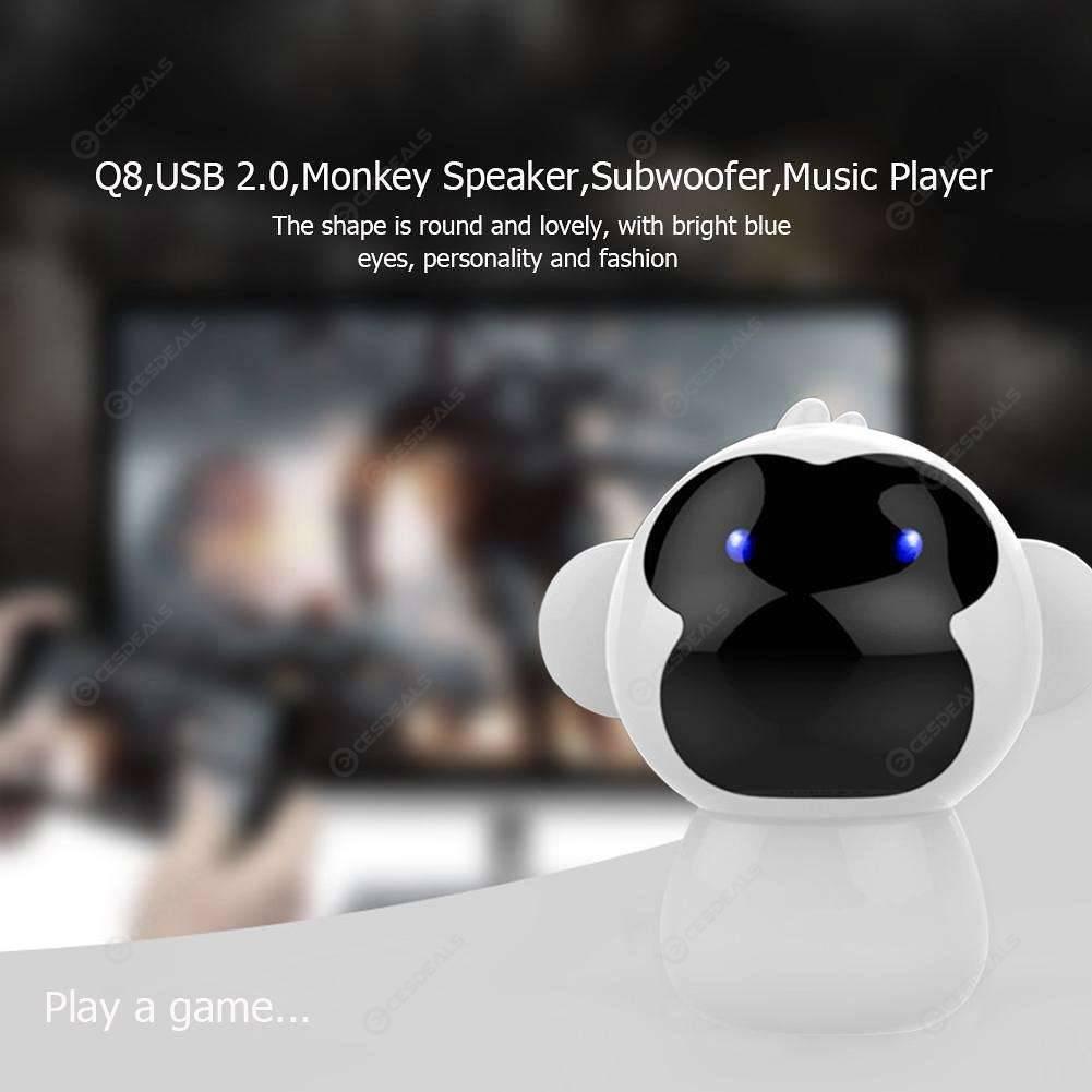 Q8 USB 2 0 Cartoon Monkey Speaker Music Player Mini Subwoofer for PC (White