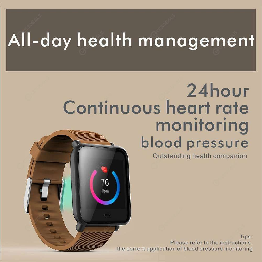 Q9 Blood Pressure IP67 Waterproof Sports Heart Rate Smart Watch (Coffee)