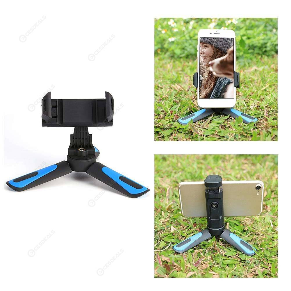 Blue Non-slip Mini Tripod Phone Holder Stand Flexible Camera Video Tripod Holder for Digital DSLR Camera