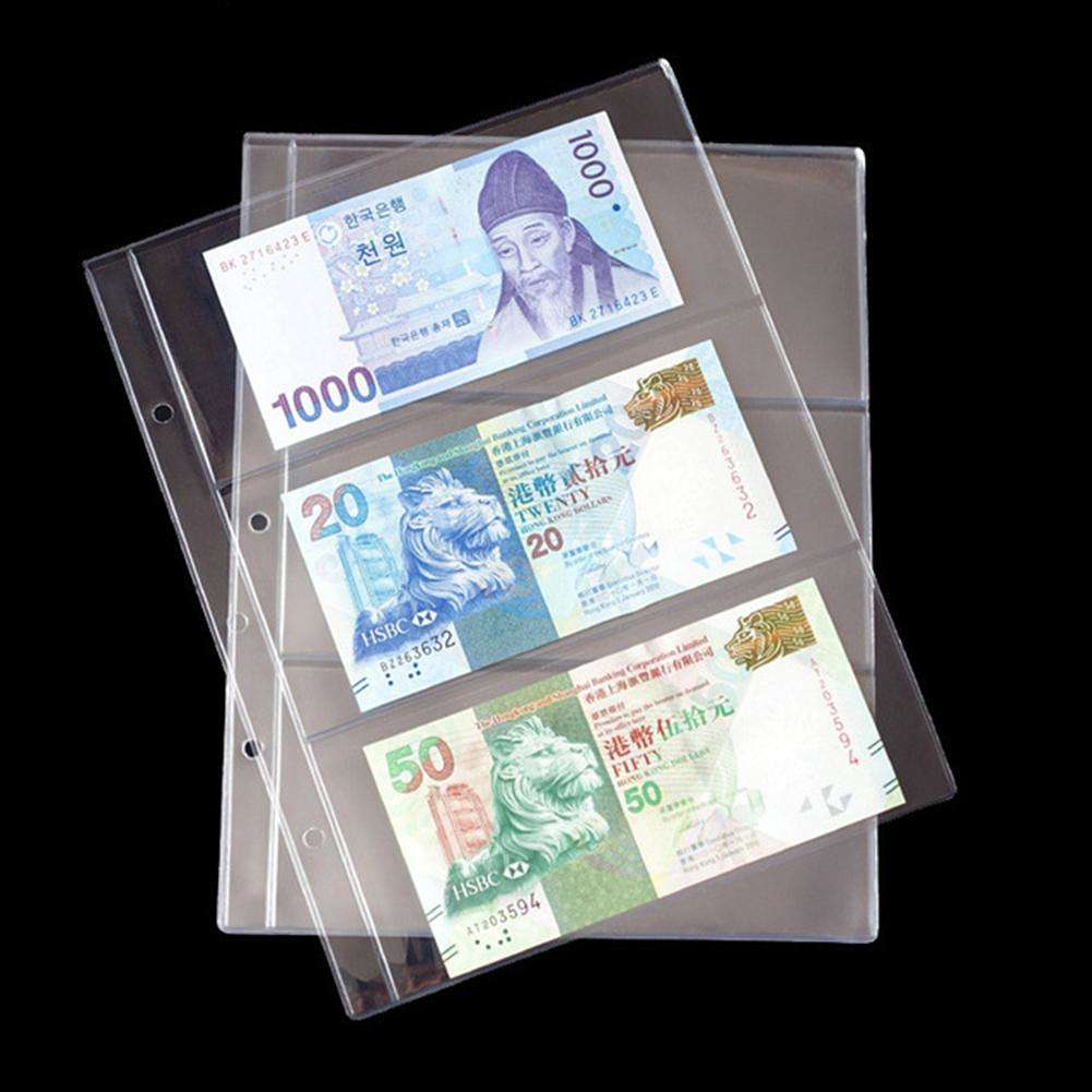 10pcs Pages 3 Holes Paper Money Album Currency Banknote Collection Book (4)