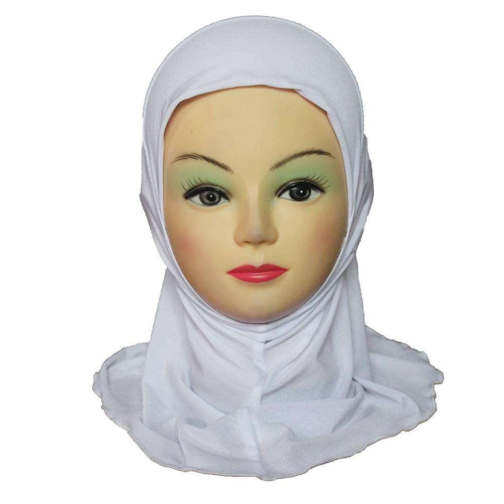 Solid Color Muslim Kids Headscarf Girls Simple Soft Hijab