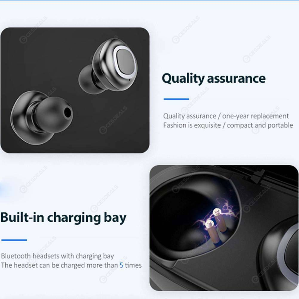 V09 Bluetooth Earbuds Mini TWS Wireless Earphones with Charging Box (Black)