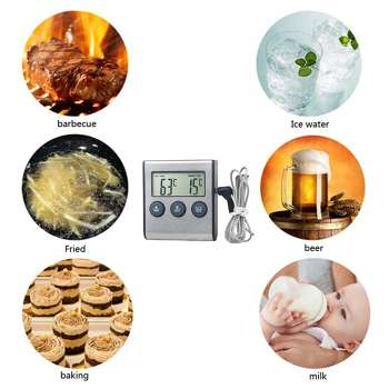 Stainless Steel Food Thermometer Meat Timer Kitchen Cooking Countdown Probe