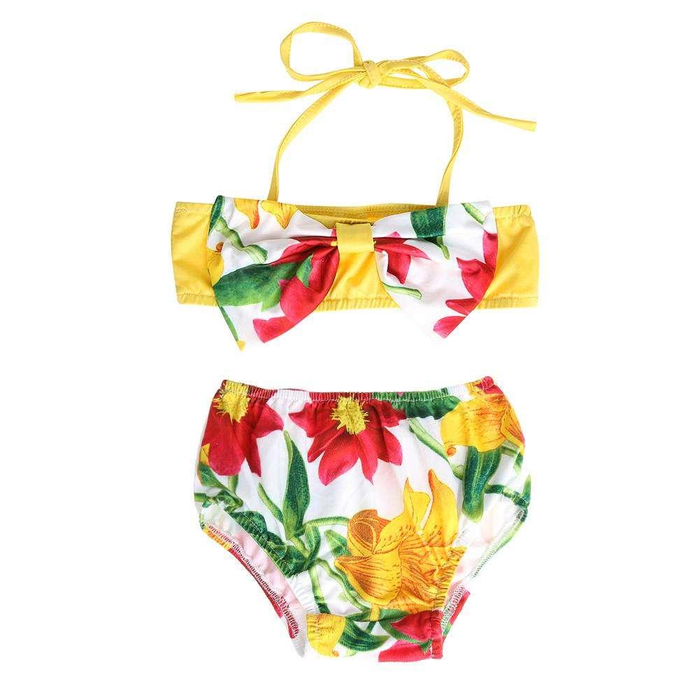 fa00f7491a177 Cute Baby Girls Big Bowknot Split Swimwear Kids Two-Piece Swimsuit (6-12M  ...