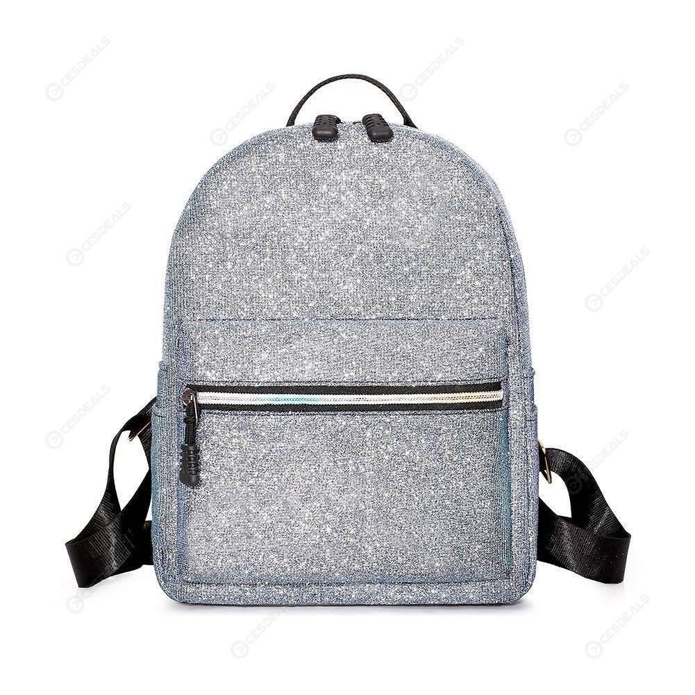 7884848a075c Women Sequin Fashion Backpack PU Teenage Girls Schoolbag Travel Bag (Silver