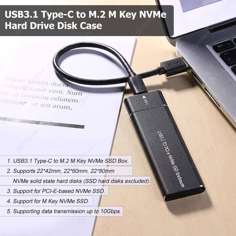 Type-C to M 2 M Key NVMe SSD Box Solid State Drive Hard Disk Case (Black)