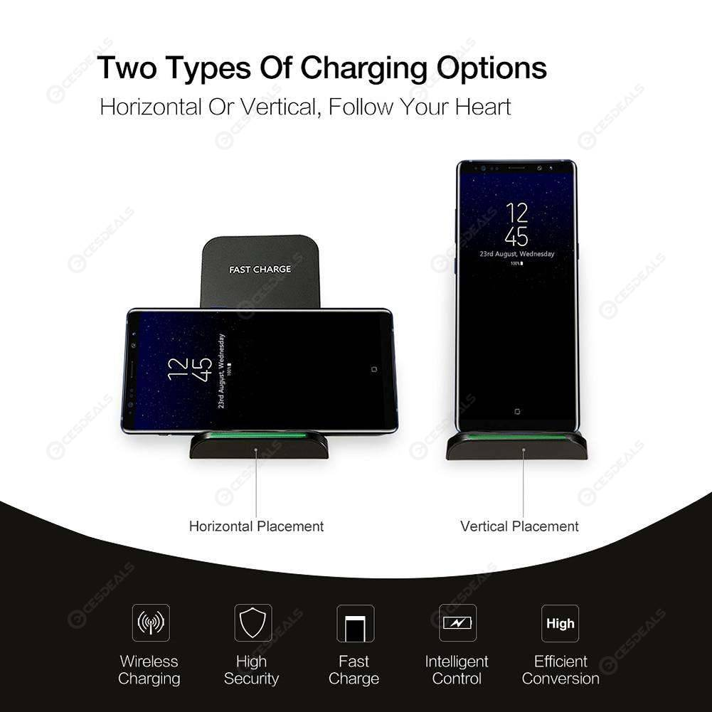 RAXFLY Qi Wireless Charger 10W Fast Charging Stand for iPhone X XR XS Max