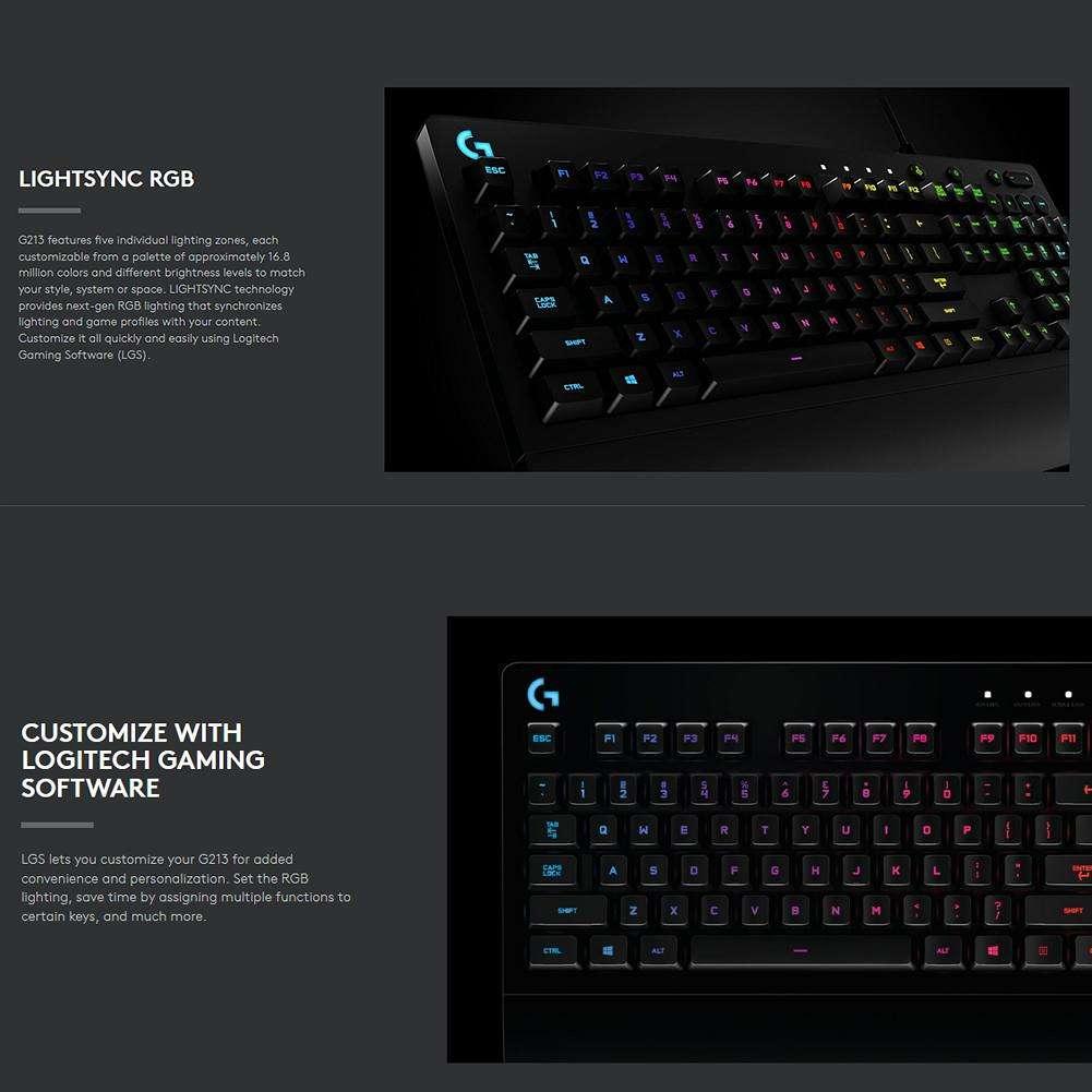 Logitech G213 Mechanical Feel Keyboard 108 Keys RGB Backlit Gaming Keyboard