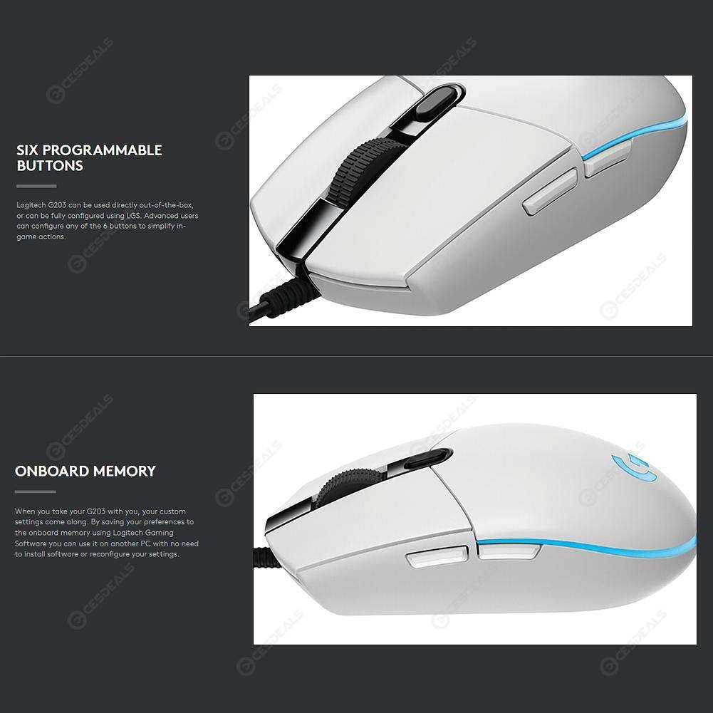 Logitech G102 Gaming Mouse Programmable 6000DPI RGB Wired Mouse (White)